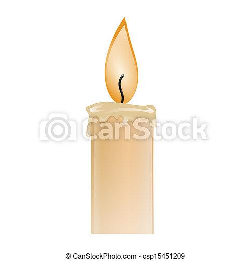 kaarsje, illustratie, burning, was - csp15451209