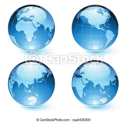 kaart, aarde, bollen, glanzend - csp4435300