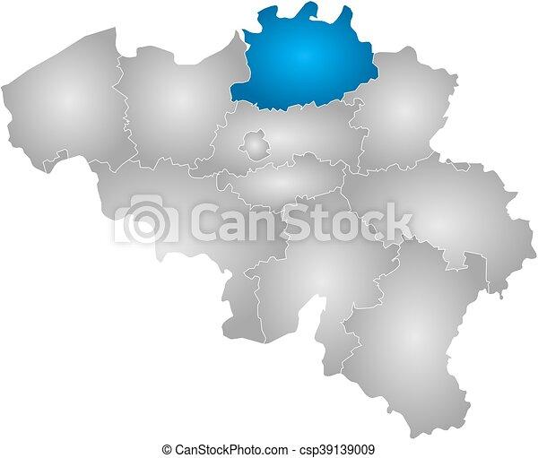 Kaart Antwerpen Belgie Kaart Helling Provincies Antwerpen Highlighted Radiaal Belgie Gevulde Canstock