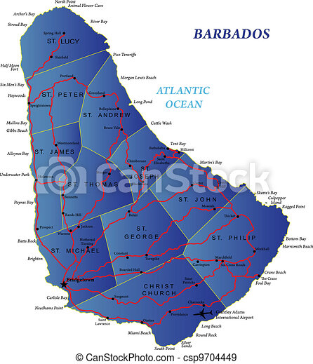 kaart, barbados - csp9704449