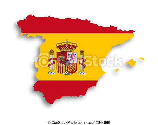 kaart, binnen, vlag, spanje - csp12644968