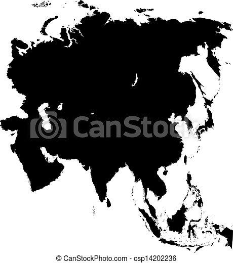 kaart, black , azie - csp14202236