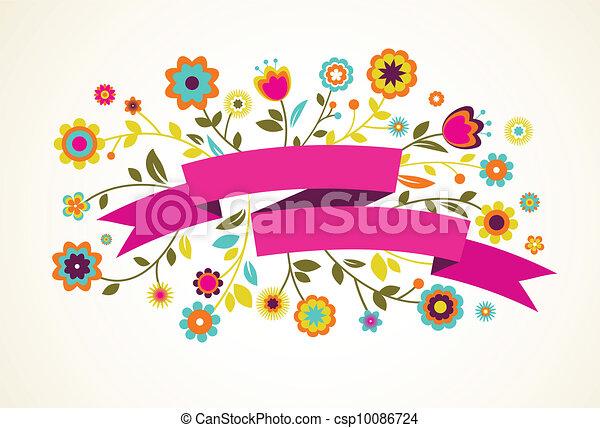 kaart, bloemen, vector, groet, lint - csp10086724