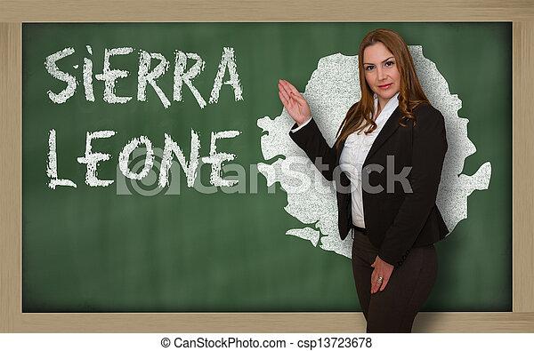 kaart, bord, het tonen, sierra, leraar, leone - csp13723678