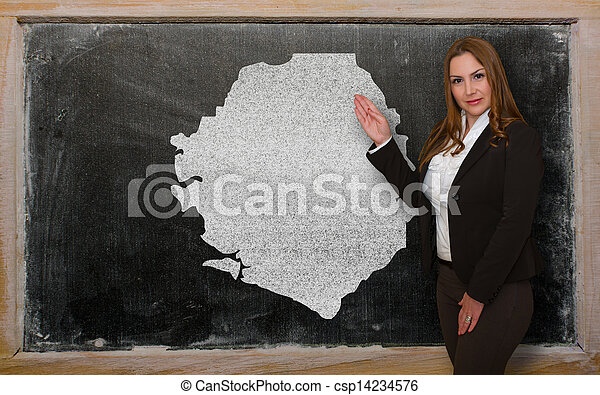 kaart, bord, het tonen, sierra, leraar, leone - csp14234576