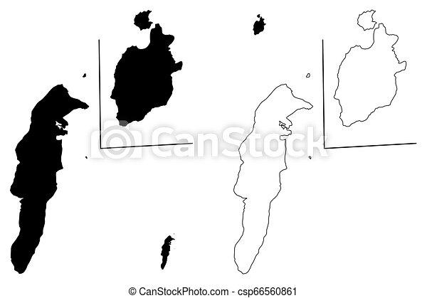 kaart, catalina, san andres, providencia, archipel, vector, kerstman - csp66560861