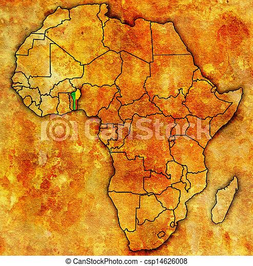 kaart, daadwerkelijk, afrika, benin - csp14626008