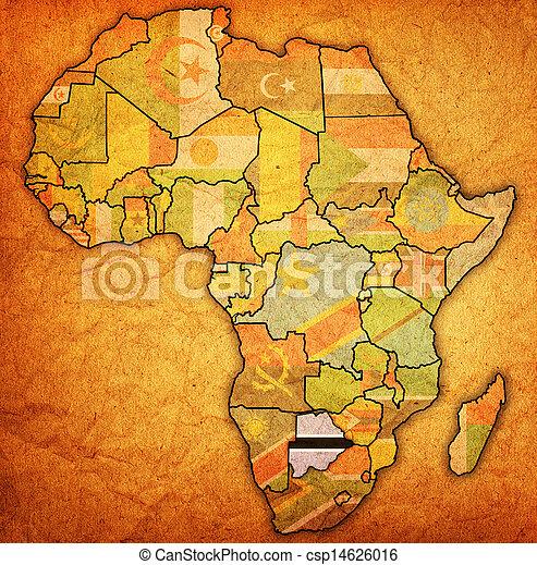 kaart, daadwerkelijk, botswana, afrika - csp14626016