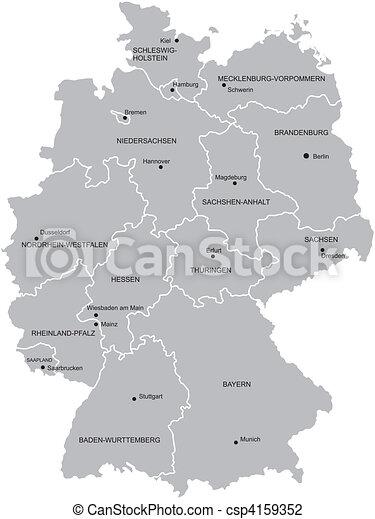 Kaart Duitsland Provincie Kaart Provincies Steden Provinces