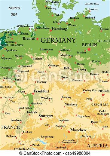 kaart, duitsland, lichamelijk - csp49988804