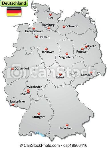 Kaart Duitsland Geweld Kaart Steden Duitsland Grijs
