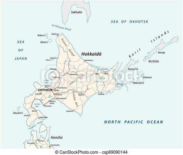 kaart, eiland, japanner, vector, hokkaido, straat - csp69090144