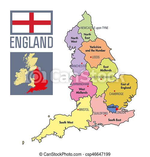 Kaart Engeland Hoofdsteden Politiek Gebieden Hun