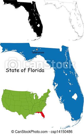 kaart, florida - csp14150486