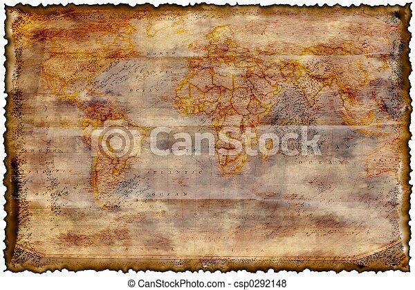 kaart, gebrande, oud - csp0292148