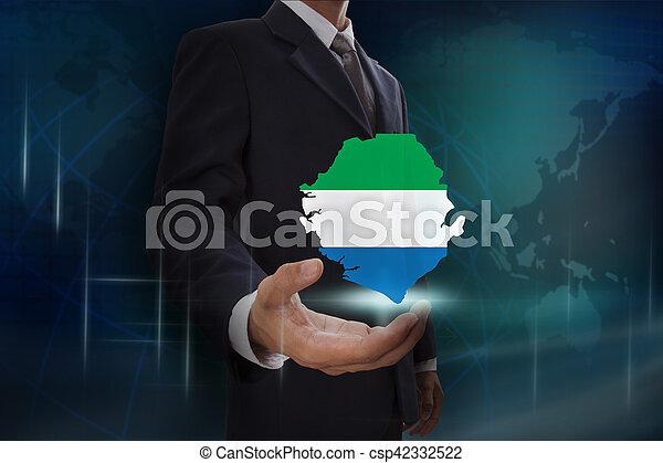 kaart, het tonen, achtergrond, sierra, zakenman, globe, leone - csp42332522