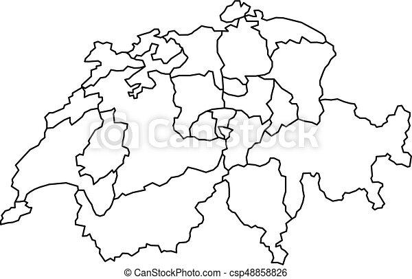 Kaart Illustratie Vector Black Bochten Kanton Zwitserland