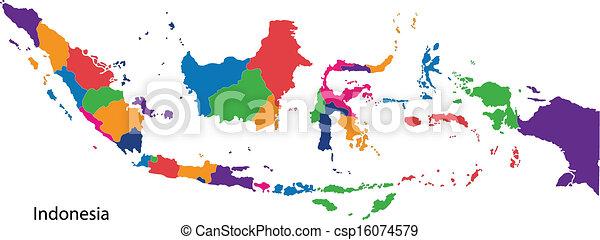 kaart, indonesie, kleurrijke - csp16074579