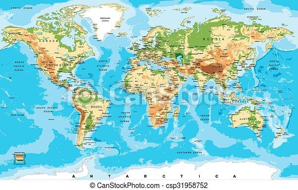 kaart, lichamelijk, wereld - csp31958752