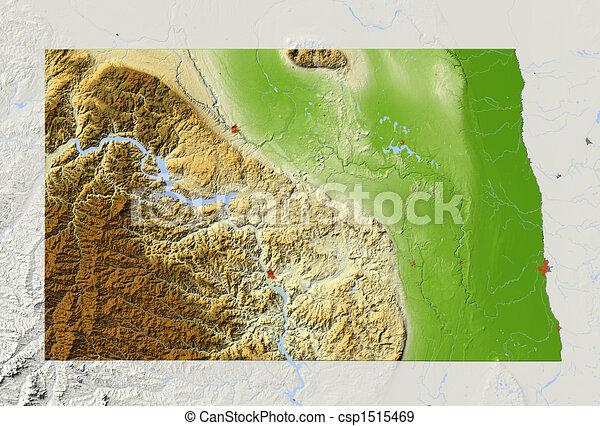 kaart, noorden, verlichting, dakota, gearceerd - csp1515469