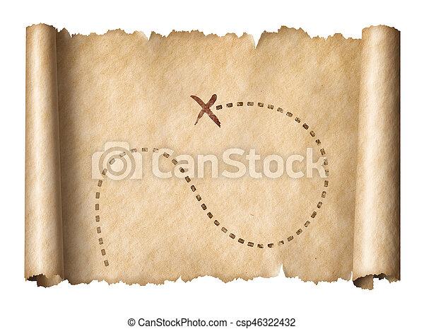 kaart, oud, piraten, schat, opvallend, plaats, boekrol - csp46322432