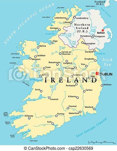 Kaart Politiek Ierland Kaart Scaling Illustration