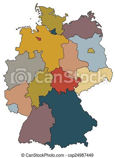 Kaart Provincies Duitsland Gekleurde