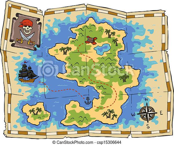 kaart, schat - csp15306644