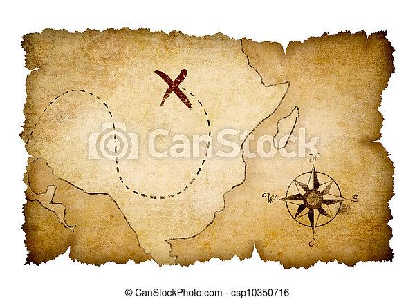 kaart, schat, piraten, opvallend, plaats - csp10350716