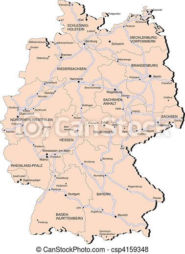 Kaart Spoorweg Duitsland Provincie Blends Provincies Steden