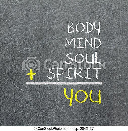kaart, u, lichaam, eenvoudig, -, verstand, verstand, ziel, geest - csp12042137