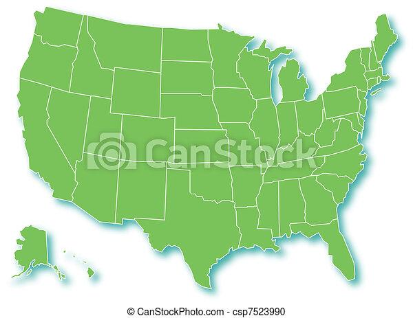 staten, kaart, usa.