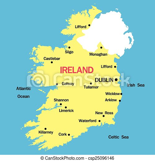 Kaart Vector Ierland Kaart Steden Vector Ierland