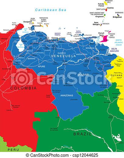 kaart, venezuela - csp12044625