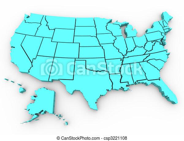 kaart, verenigd, render, -, a., staten, u., s., 3d - csp3221108