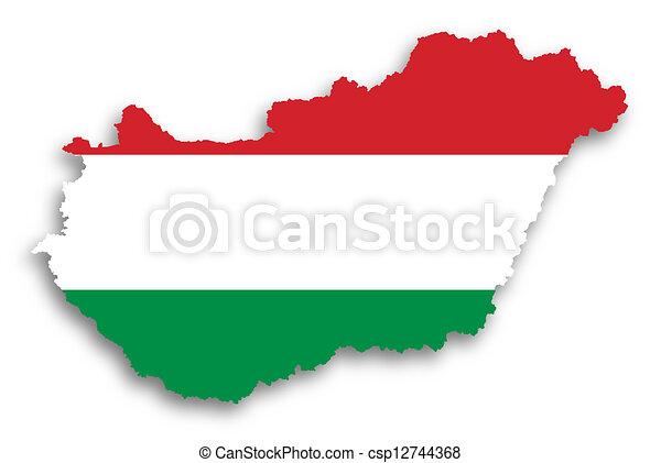kaart, vlag, gevulde, hongarije - csp12744368