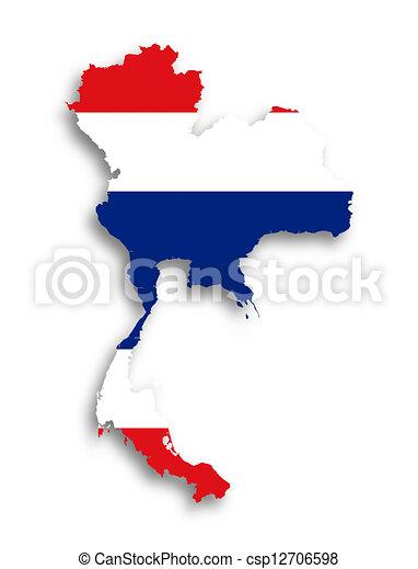 kaart, vlag, gevulde, thailand - csp12706598