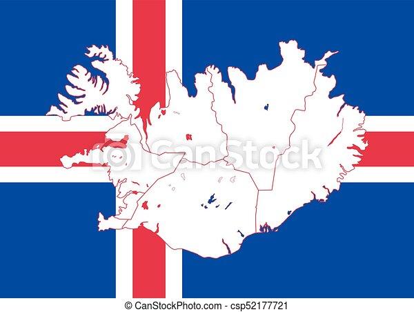 kaart, vlag, ijsland. kaart, illustration., iceland., vlag, vector