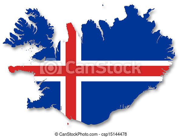 kaart, vlag, ijsland. 2d, kaart, vlag, illustratie, ijsland.