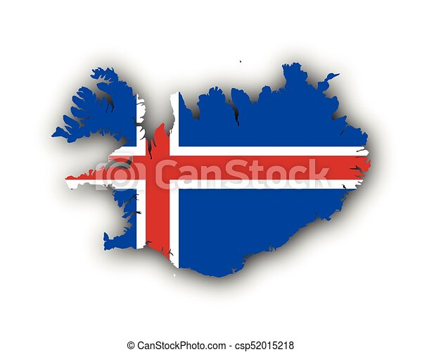kaart, vlag, ijsland.