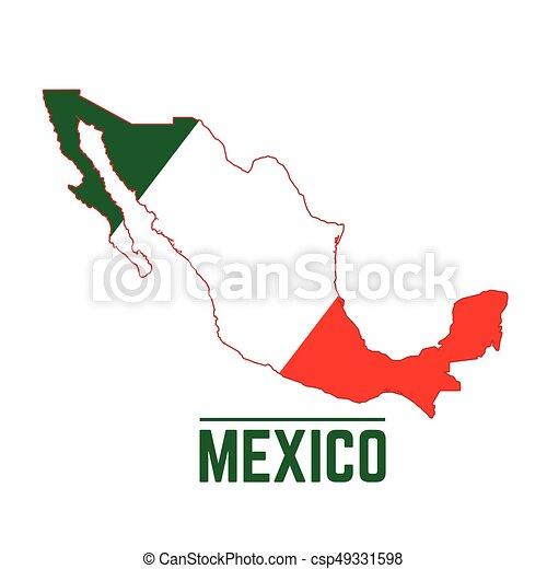 kaart, vlag, mexico. mexico, kaart, vlag, vector, illustratie.