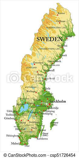 Kaart Zweden Verlichting Gedetailleerd Kaart Alles Groot