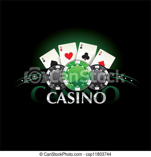 kaarten, pook, casino chip, element - csp11803744