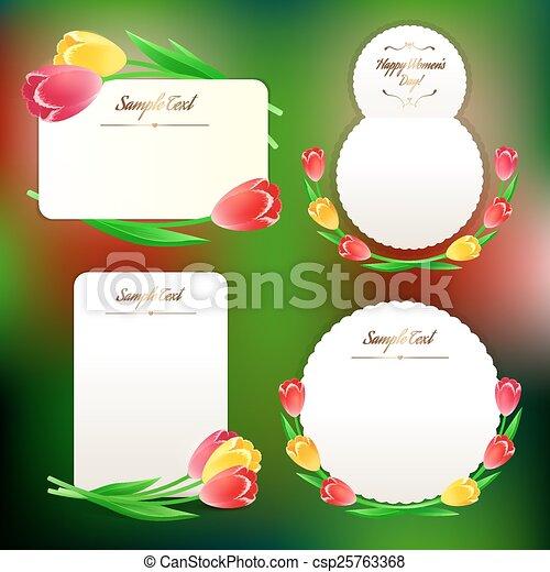 kaarten, tulpen, set, groet, lente - csp25763368