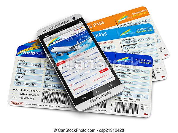 kaartjes, lucht, aankoop online - csp21312428