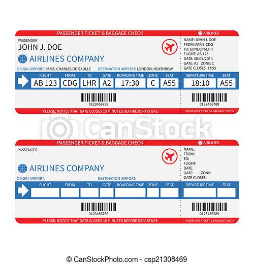 kaartjes, passagier, barcode., ), (, bagage, vector, luchtroute, aanplakbord passeren - csp21308469