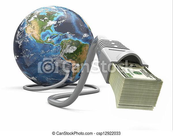 Geld verdienen online. Konzept. Erd- und Internetkabel mit Geld. - csp12922033