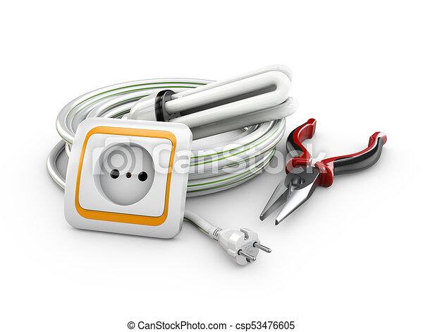 Kabel, instruments., steckdose, abbildung, elektrische... Stock ...