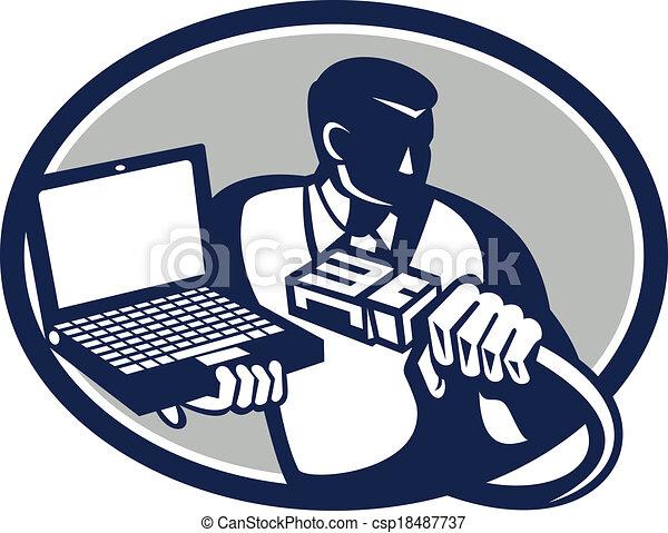 Kabel, laptop-computer, retro, besitz, techniker. Computernetzwerk ...