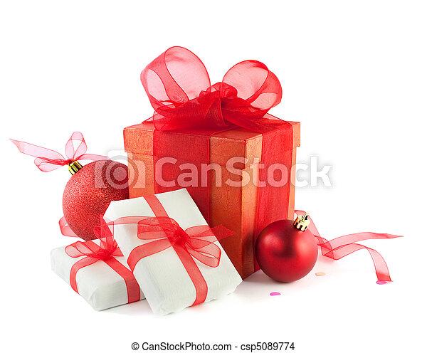 kabiny, piłki, odizolowany, white., dar, boże narodzenie - csp5089774